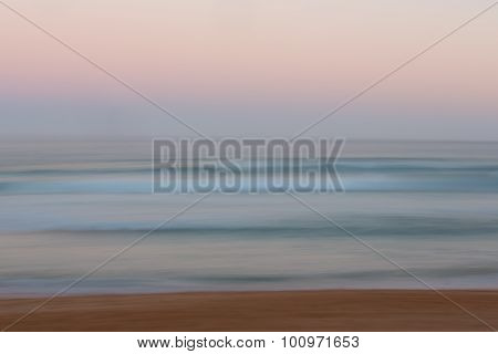Abstract Sunrise Ocean Background With Blurred Panning Motion