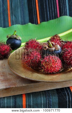 Rambutan And Mangosteen Fruits