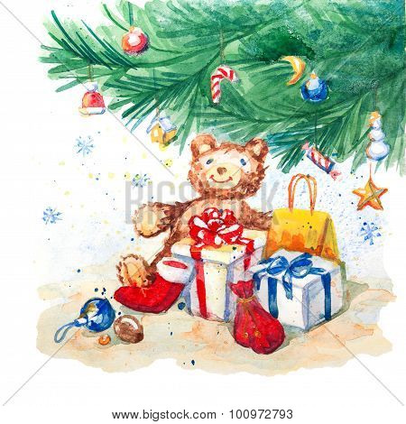 Christmas background with bear and gifts