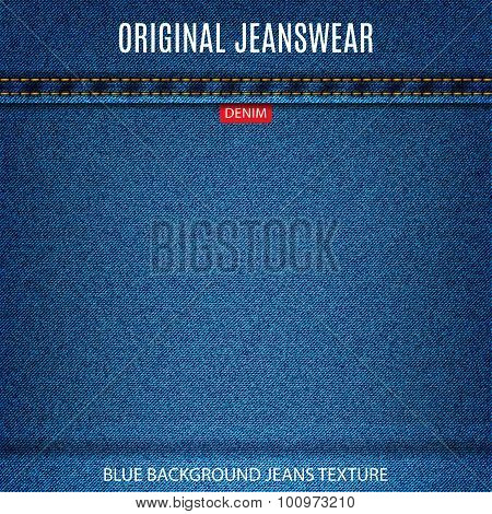 Jeans Blue Texture Material Denim Background. Stock Vector Illustration Eps10