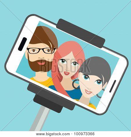 Three Friends Making Summer Selfie Photo.