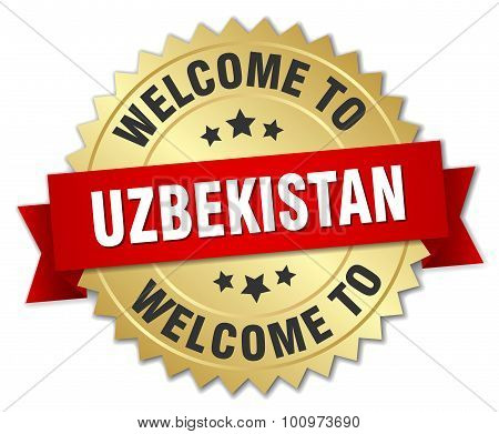 Uzbekistan 3D Gold Badge With Red Ribbon