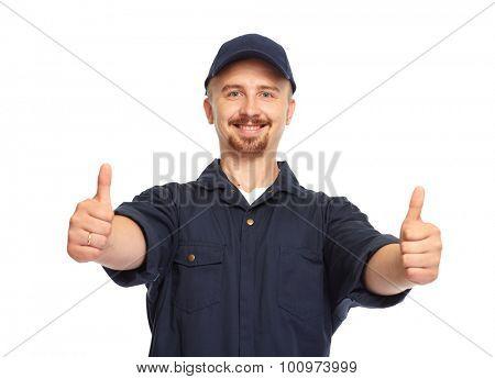 Happy smiling car mechanic isolated white background.