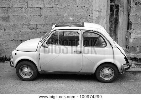 Old Fiat Nuova 500 City Car, Side View