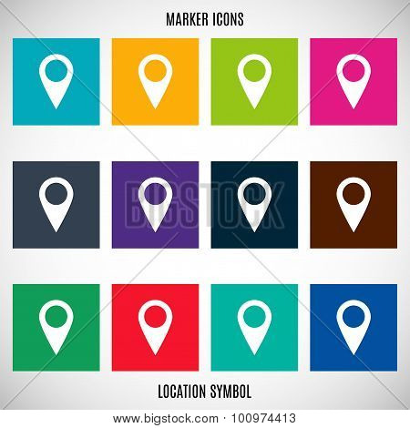 Set Icons Pointers Marks For Map In The Style Flat Design Different Color On A Gray Background