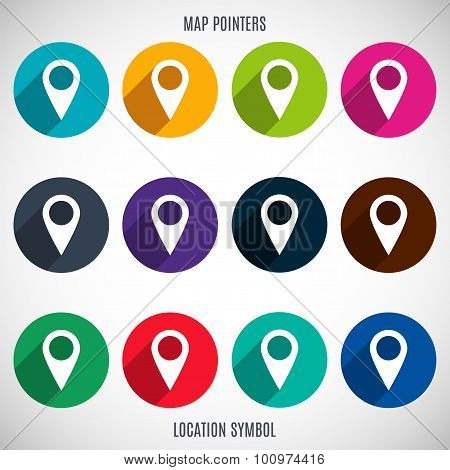 Set Of Markers And Pointers Icons For Map In The Style Flat Design Different Color On A Gray Backgr
