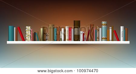 Exclusive Book Shelf. Vector Illustration. Bookstore Indoor.