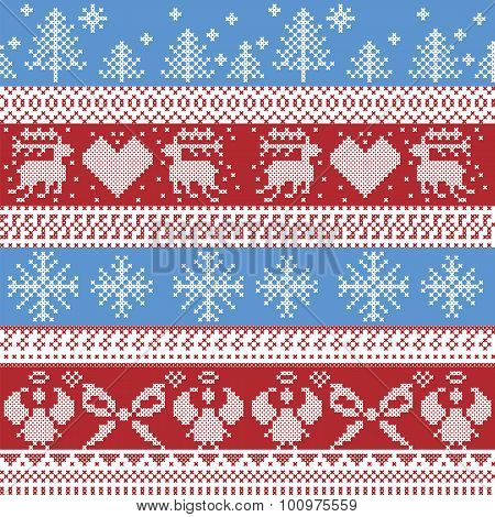 Blue and red Nordic Christmas winter  pattern with reindeer,rabbits, Xmas trees, angels, bow in Scan