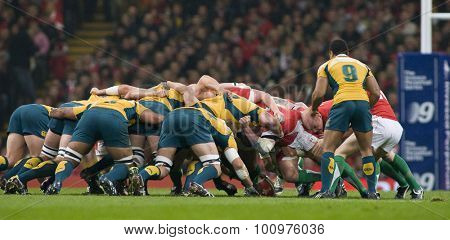 CARDIFF, WALES. 28 NOVEMBER 2009.  A scrum during the Invesco Perpetual International Rugby Union match between Wales and Australia at the Millennium Stadium.