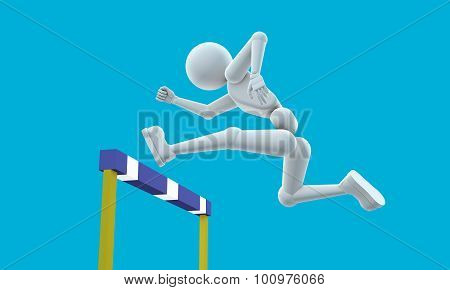 Athlete Jumps An Obstacle