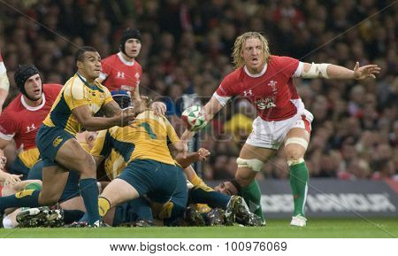 CARDIFF, WALES. 28 NOVEMBER 2009. Will Genia of Australia throwing a pass from a ruck  while playing in the International Rugby Union match between Wales and Australia at the Millennium Stadium.