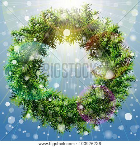 Christmas Wreath With Overhead Lighting And Snowfall