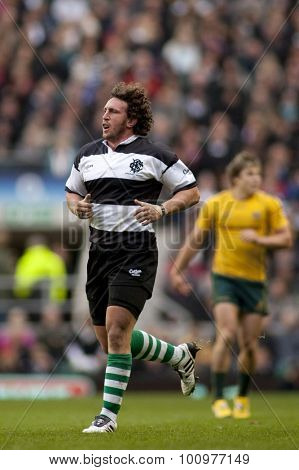 LONDON, ENGLAND. 26 NOVEMBER 2011. Barbarians Mauro Bergamasco,  in action during the Killik Cup, rugby union match between the Barbarians and Australia, played at Twickenham Stadium.