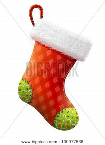 Empty Christmas Stocking Isolated On White Background
