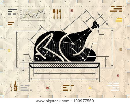 Christmas Whole Turkey Symbol As Technical Blueprint Drawing
