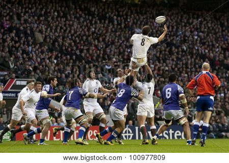 TWICKENHAM LONDON, 20 NOVEMBER 2010. England's captain Nick Easter  catches the ball at a line out during the International match between England and Samoa at Twickenham Stadium Middlesex England.