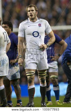 TWICKENHAM LONDON, 20 NOVEMBER 2010. England's Tom Croft,  during the Investec International match between England and Samoa at Twickenham Stadium Middlesex England.