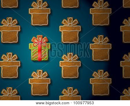 Gingerbreads In Form Of Christmas Gift With Icing