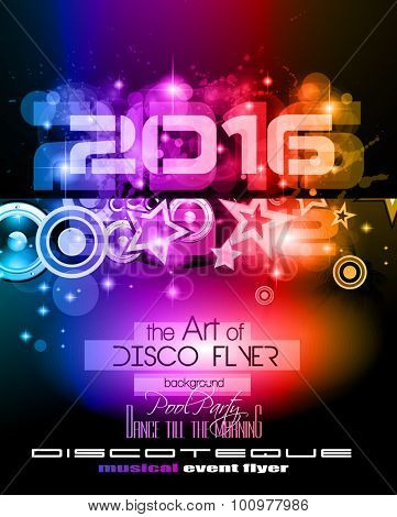 2016 New Year's Party Flyer for Club Music Night special events. Layout Template Background with music themed elements ans space for text.