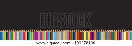 Colored Pencils Background. Black Board With Isolated Crayons. Back To School Concept.