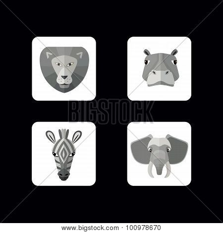 Wild animals icons. Vector format.