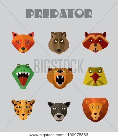 Predator animals icons. Vector format.