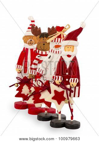 Wooden christmas figurines isolated.
