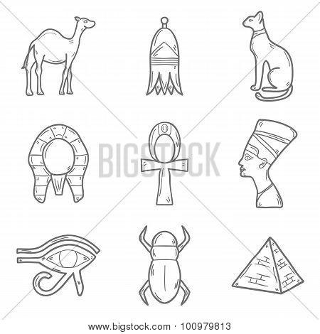 Set of cartoon outline icons in hand drawn style on Egypt theme: pharaon, nefertiti, camel, pyramid,