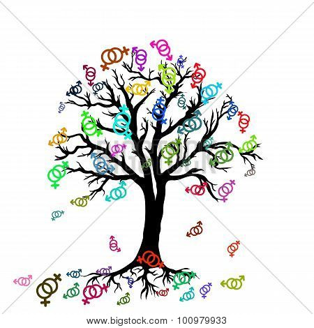 Tree With Colorful Symbols Of Lesbian Couple In Abstract Style