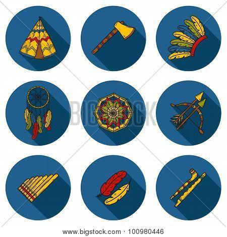 Set of cartoon hand drawn objects on injun theme: tomahawk, feather, canoe, bow, arrow, hat, mandala