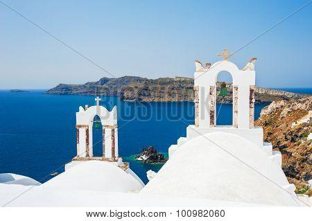 White Church On Santorini Island, Greece.