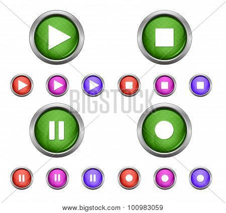 Set of isolated glossy vector web buttons. Beautiful internet buttons isolated on white background.