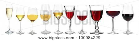 Wineglasses with different wine, isolated on white