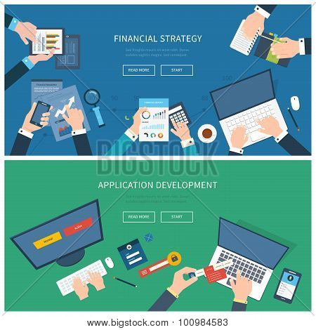 Flat design illustration concepts for business analysis, consulting, team work, project management a