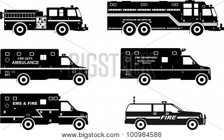 Set Of Different Silhouettes Fire Trucks And Ambulance Cars. Vector Illustration.