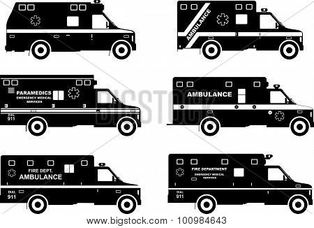 Set Of Different Silhouettes Ambulance Cars. Vector Illustration.