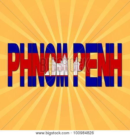 Phnom Penh flag text with sunburst illustration