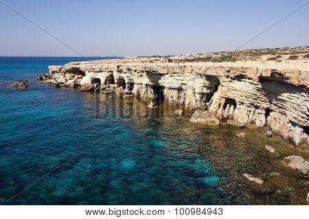 Sea Caves Near Cape Greko. Cyprus