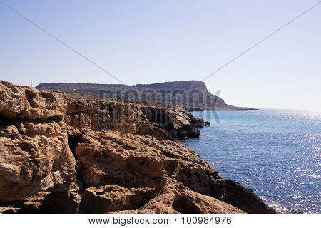 Sea Landscape With Rock. Capo Greco, Cyprus