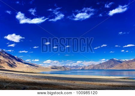Sky, Clouds And Mountains,pangong Tso (lake),leh Ladakh,jammu And Kashmir,india