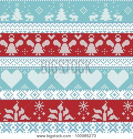 Light blue, blue, white and red Scandinavian Nordic Christmas seamless cross stitch pattern with ang