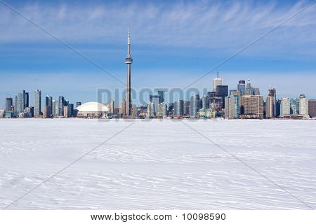 Winter skyline of Toronto, Canada