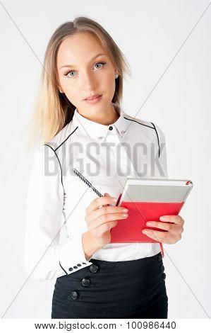 Portrait of pretty business lady with organizer