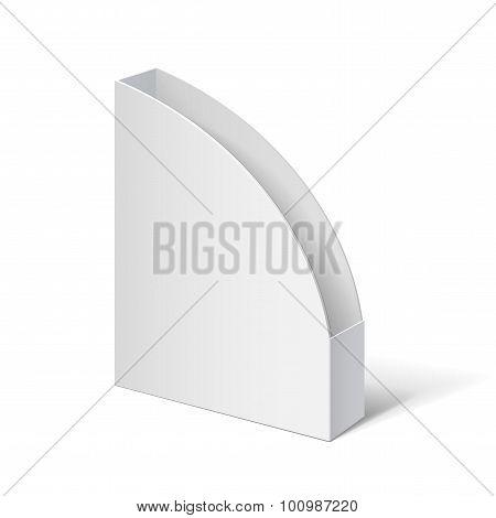 White Box. Cardboard Holder For Brochures And Flyers. Vector Illustration