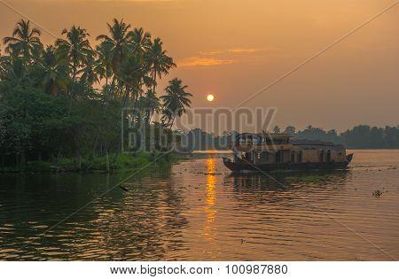 Backwaters Of Kerala At Sunrise, India