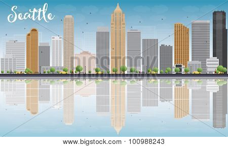 Seattle City Skyline with Grey Buildings, Blue Sky and reflections. Vector Illustration