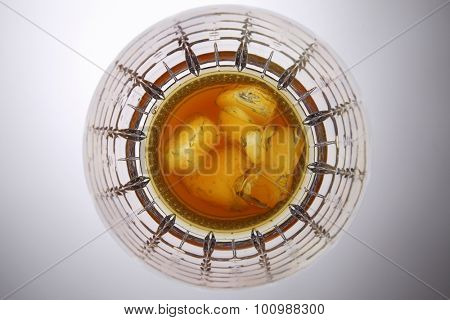 top view of wine glass with liquor