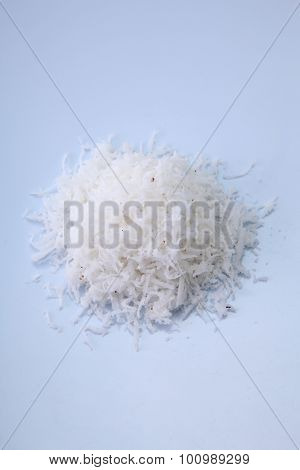 shredded coconut on the white background