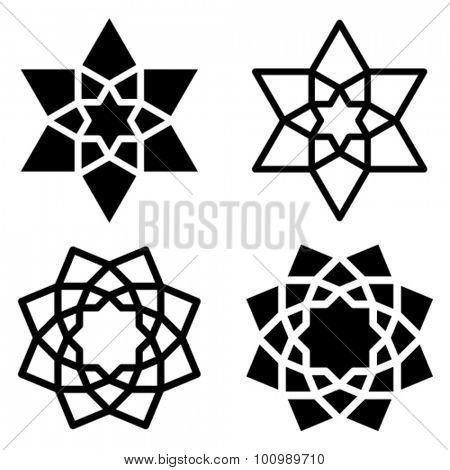 vector black star flower symbols