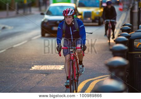 LONDON, UK - 7 SEPTEMBER, 2015: Londoners commuting from work by bike.
